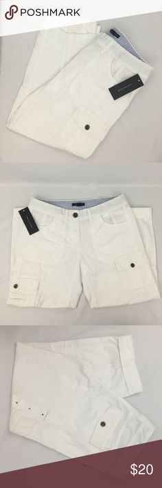 """NWT Tommy Hilfiger White Cropped Cargo Pants NWT....24""""+ Inseam rolled out Tommy Hilfiger Pants Ankle & Cropped"""
