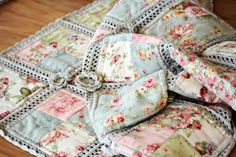 Crochet and fabric Quilt. . .  Not to self, start edging with crochet thread and blanket stitch all around then crochet the blocks together. <3