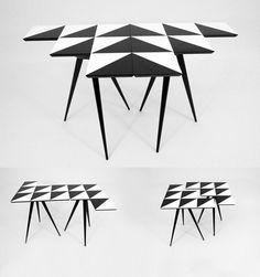 Padrões geométricos criam ilusões de óptica, pés palito dão um perfume cinquentinha, e a mistura de cores e desenhos marca uma descontraída série de mesas lançada neste ano pela britânica Rockman & Rockman.