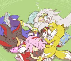 Awwe they all look so cute together! First off I am supporting Shadamy so  I especially love how Amy and Shadow some how switched pillows.