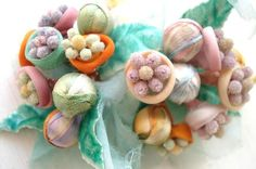 """Vintage Millinery Flowers:  This blogger has a rather large collection of millinery and says """"I've never come across flowers like these before. They are very unusual with their gauzy-linen petals and sugared stamen centers..."""""""