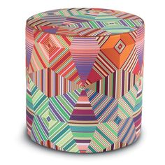 A Pair Of Missoni Poufs Are Beautiful In The Living Room And Can Be Extra Seats For When There Are Too Many Guests