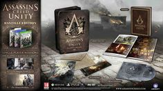 The Bastille Edition of Assassin's Creed Unity includes the following - A full copy of the game 2 Bonus single player missions, The American Prisoner and The Chemical Revolution, An extra 45 minutes of gameplay An Artbook, The Official Soundtrack, 2 Lithographs & A Jumbo Steel Case