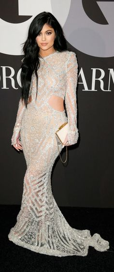 Kylie Jenner in a silver cutout gown at the Grammys after party.