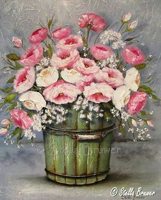 Stella Bruwer green wooden bucket with pink ranunculus Art Floral, Flower Images, Flower Art, Decoupage Vintage, Stella Art, Tole Painting, Art Pictures, Painting Inspiration, Flower Arrangements