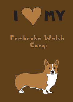 Pembroke welsh corgi, 5x7 print