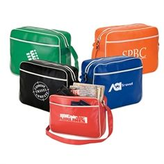 """Retro Airline Shoulder Bag  Revisit the Golden Age of Flight with this retro airline bag. It features an exterior pocket, 1 1/2"""" x 56"""" adjustable shoulder strap, padded lining and metal feet."""