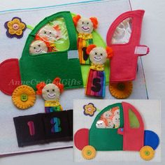 This fun, handmade toy for little kids is a great gift idea. Count the clowns in the circus car - play with finger puppets, match the numbers! Also creative ideas for your own felt quiet book page.  #AnneCraftedGifts