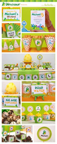 Dinosaur Birthday Party Package Collection Set Mini by LeeLaaLoo, $29.00