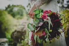 Bohemian wedding bouquet.   Weding dress by - Karen Willis Holmes   (Photographer: Swirltography) Follow: @KWHBridal