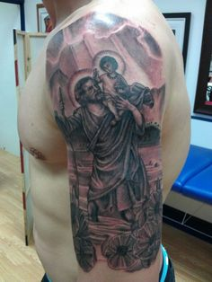 God And Angel Religious Sleeve Tattoos ~ http://tattooeve.com/religious-tattoos-design-on-sleeve/ Tattoo Design