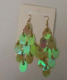 Women Fashion Drop Dangle Earrings Lime Green Gold Beads FASHION JEWELRY Hook #FASHIONJEWELRY #DropDangle