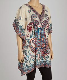 Take a look at this Turquoise & Gold Paisley Dolman Tunic - Plus by Life and Style Fashions on #zulily today!