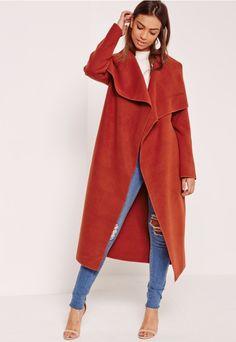 Oversized Waterfall Duster Coat Orange - Missguided