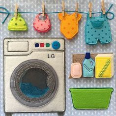 I like this style of Laundry the best, maybe the washer part can be bigger to fit more clothes in. Diy Quiet Books, Baby Quiet Book, Felt Quiet Books, Kids Crafts, Baby Crafts, Felt Crafts, Fabric Crafts, Quiet Book Templates, Quiet Book Patterns