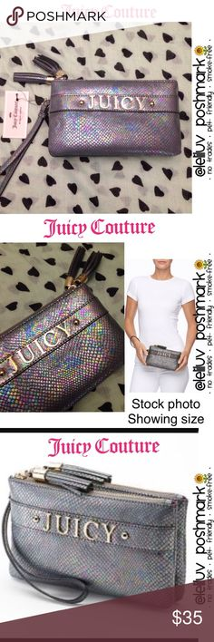 """✴️SALE✴️JC Pearl Python iridescent clutch wristlet NWT 💖 Juicy Couture snakeskin style / Python double-zippered wristlet or clutch in iridescent pewter 💖  🌺 Iridescent design 🌺 Tassel accents (2 tassels) and wrist strap 🌺 Gold-tone hardware; faux leather 🌺 Double zipper closure (2 attached zippered compartments, one with interior zip pocket)  ✔️Measurements: 8.25W x 4.75""""H x 1.25""""D 🚫No trades 🚭Smoke-free 🐶Pet-friendly 🌺🌹Thanks for shopping @leliluv!🌹🌺 Juicy Couture Bags Clutches…"""