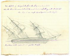Sketches by Thomas Nickerson depicting the attack and sinking of the ship Essex - Nantucket Historical Association
