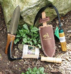 The All-Purpose Asian Garden Toolkit from Green Heron Tools includes a Korean hand plow, a Hori-Hori stainless steel soil knife with leather sheath, and a Nejiri Kama Japanese weeding sickle. $67.78