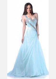 Natural Waist A line One Shoulder Floor Length Chiffon Dress For Prom - 1300104333B - US$139.99 - BellasDress