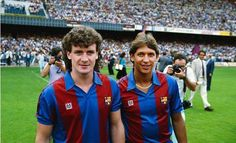 Mark Hughes (with Gary Lineker) at Barcelona between United stints.
