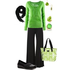 On the go, created by kvnielsen. cute casual outfit. love the green top & bag