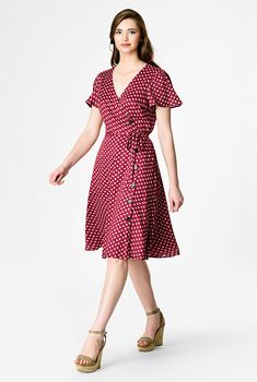 I <3 this Floral dot print side button wrap dress from eShakti