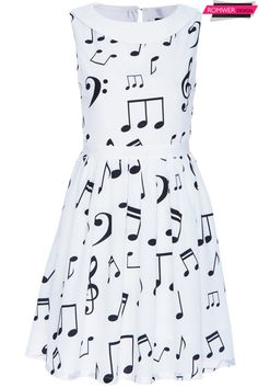 ROMWE | Musical Notes Printed White Dress, The Latest Street Fashion