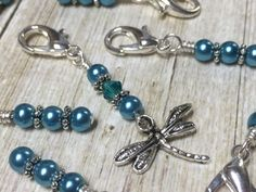 Teal Dragonfly Crochet Stitch Marker Set- Removable Clip On Markers