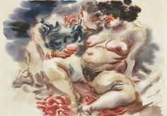 George Grosz (German, 1893-1959), Erotic scene, 1934. Watercolour and pencil on paper, 48.2 x 67 cm.