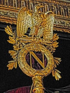 One of Napoleon's gold imperial eagle standards in the throne room at Fontainebleau Royal Palace in France