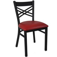 BFM Seating Akrin Black Metal Cross Back Restaurant Chairs - Padded Seat at Classroom Essentials Online. Call today for discount prices on restaurant, café & bistro chairs! Restaurant Bar Stools, Black Restaurant, Restaurant Furniture, Bistro Chairs, Cafe Chairs, Dining Chairs, School Chairs, Seat Pads, Chairs For Sale