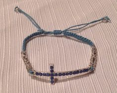 Blue Dotted Cross with Beads by BoilerChic on Etsy, $8.00