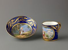 Cup and saucer French, Sèvres, 18th century Date: probably 18th century (porcelain); 19th century (decoration) Culture: French, Sevres