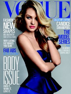 South African model Candice Swanepoel wearing Burberry Prorsum on the cover of the June issue of Vogue Australia