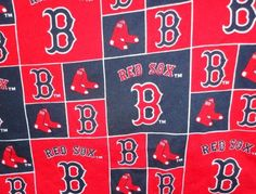 Red Sox cotton  fabric red background, Boston B and Hanging sox design in squares print. $11.99, via Etsy.