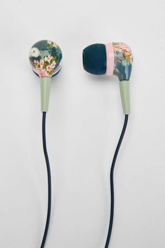 UO Printed Earbud Headphones - floral tech earbuds for her Cute Headphones, Secret Santa Gifts, Tech Gifts, Girly Things, Nice Things, Stocking Stuffers, Floral Prints, Cool Stuff, Random Stuff