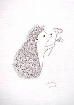 Great for little girl simple nursery! Adorable Hedgehog with Flower Original Ink Drawing Print Love by mikaart.