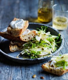 Pear, apple and frisée salad with goat's curd toasts recipe :: Gourmet Traveller