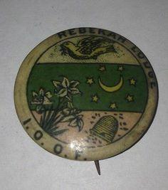 Antique Rebekah Lodge Large Celluloid Pinback Vtg Pin Bee Hive Odd Fellows IOOF