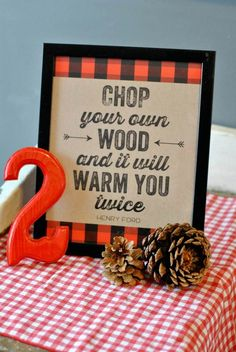 Adorable Lumberjack Sayings from this Little Lumberjack themed 2nd birthday party with SUCH CUTE IDEAS via Kara's Party Ideas Kara Allen KarasPartyIdeas.com #lumberjackparty #cam...