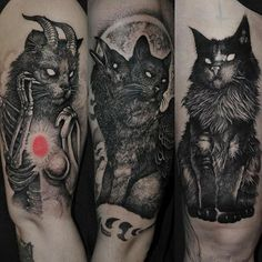 Several Satan tattoo variations