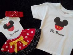 @Rachael LeBlanc Disney outfit shirt Minnie Mickey Mouse 1st Birthday onesie little man big brother twins sister outfit boy size 3 6 9 12 18 months 2t 3t 4t. $65.50, via Etsy.