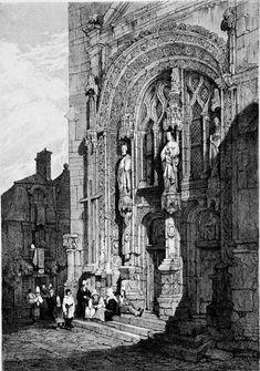 Samuel Prout (1783-1852) - The Porch of St. Symphoriem, Tours, 1839