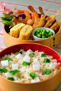 Spring Bento Box (Barley-mixed Rice Salad with Japanese Nagaimo Yam)|長イモの麦ライスサラダ 春のお弁当