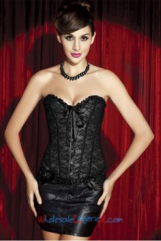 2da0abe39ae Wholesale Black Lace Overlay Corset OUC581  OUC581  -  9.50   LingeriePark