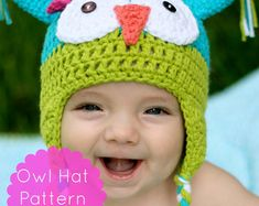 Items similar to Owl Hat Pattern, Crochet Owl Hat Pattern, Crochet Pattern - Permission to Sell on Etsy