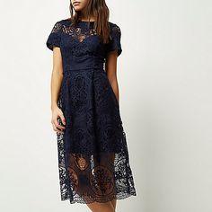 Navy lace midi dress - midi dresses - dresses - women