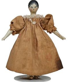 Tiny Grodnertal Peg Wooden Doll - 3.75 Inches.