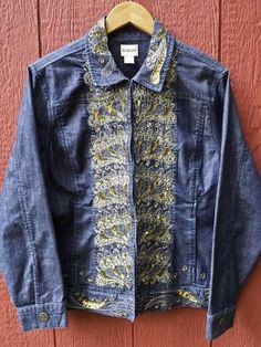 Chico's Embellished Embroidery Beaded Sequin Blue Jean Denim Jacket Stretch Sz 2 #Chicos #JeanJacket