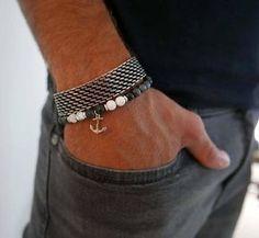 d19cfaffa89b Mens Bracelet Set - Mens Beaded Bracelet - Mens Silver Bracelet - Mens Cuff  Bracelet -